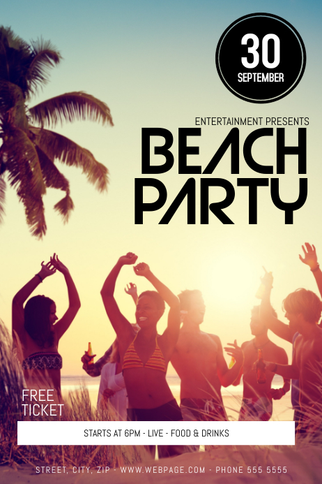Beach Party Flyer Template Poster