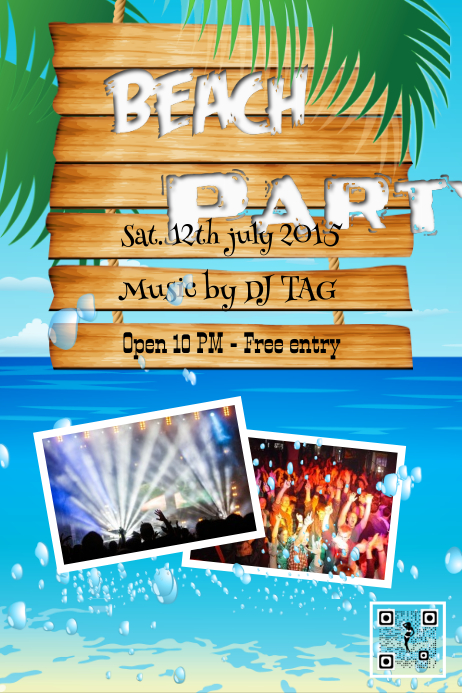 beach party poster template postermywall
