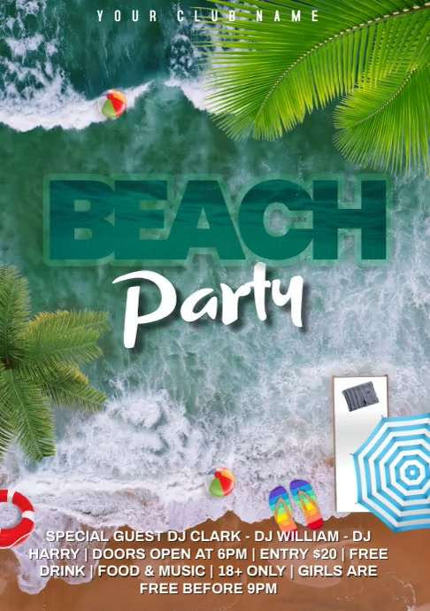 Beach party video A4 template