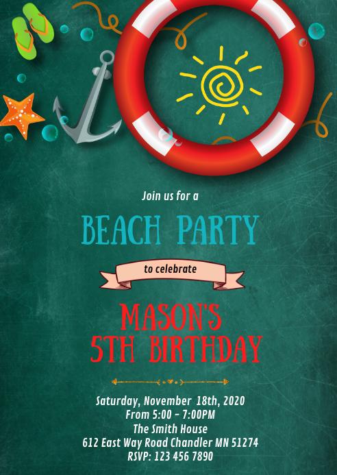 Beach pool birthday party invitation