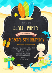 Beach pool birthday party invitation
