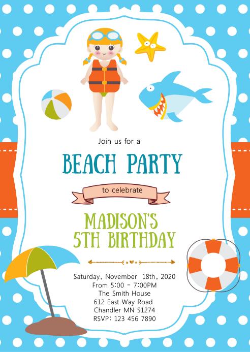Beach pool birthday party invitation A6 template