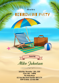 Beach retirement party invitation A6 template