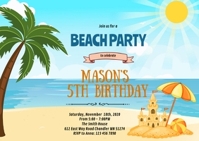 Beach sand castle birthday invitation