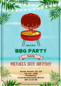 Beach summer Bbq birthday party invitation A6 template