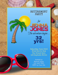 beach summer travel retirement party flyer