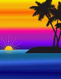 Beach Sunset Рекламная листовка (US Letter) template