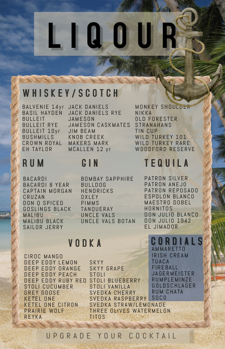 beach theme LIQOUR & SPIRITS LIST
