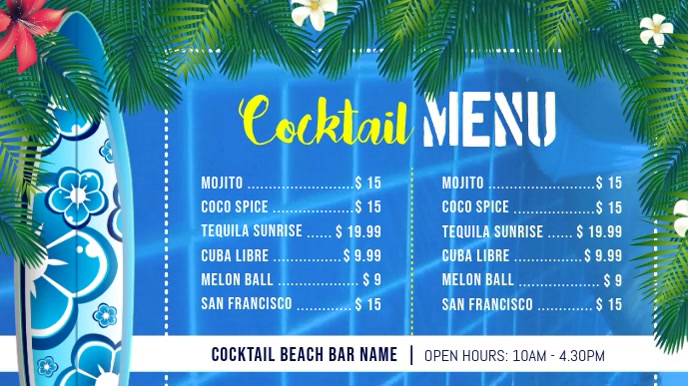 Beach Themed Cocktail Menu Digital Display Video