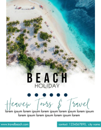 beach travel poster Flyer (US Letter) template