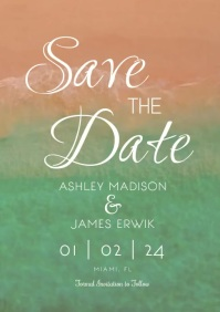 Beach Tropical Save the Dates Invitations A5 template