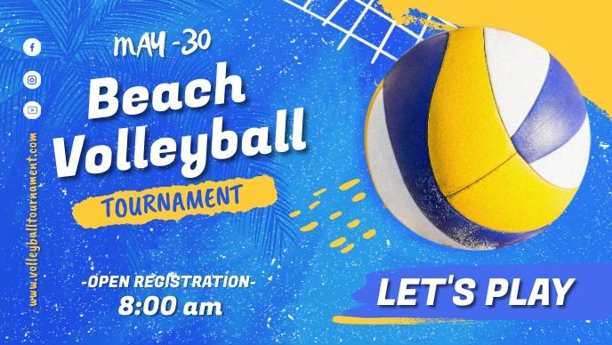 Beach Volleyball Tournaments Vídeo de portada de Facebook (16:9) template