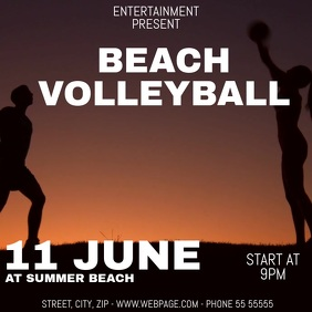 Beach volleyball video flyer template