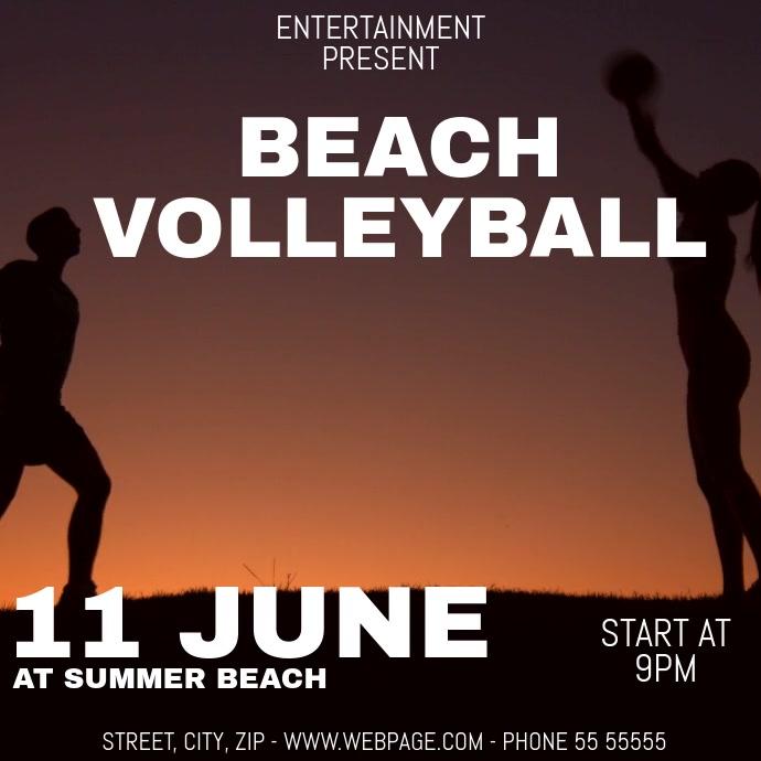 Beach volleyball video flyer template