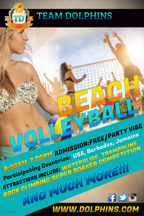 beach volleyball1 海报 template