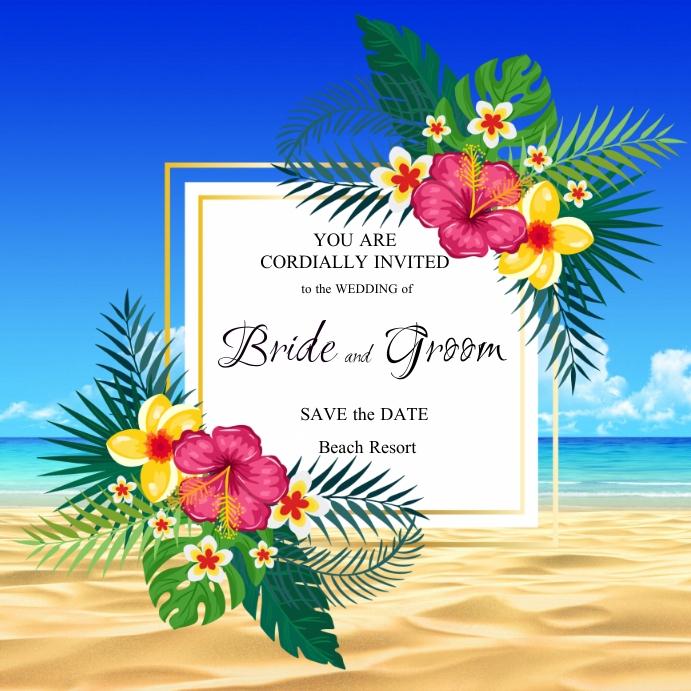 Beach Wedding Instagram-opslag template