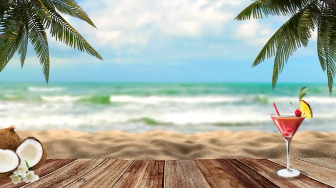 Beach Zoom Virtual Background Video Digital na Display (16:9) template