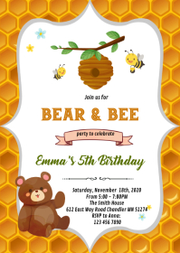Bear and bee birthday party invitation A6 template