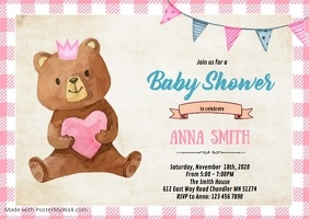 Bear baby shower birthday party invitation
