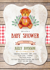 Bear baby shower elephant invitation