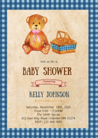 Bear picnic party invitation