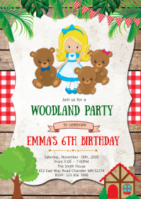 Bears birthday party invitation