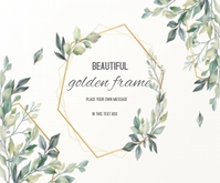 Beautiful Floral Card with golden frame Mellemstort rektangel template