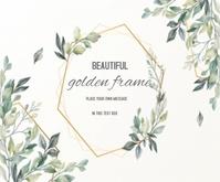 Beautiful Floral Card with golden frame Mellemstort rektangel template
