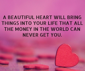 BEAUTIFUL HEART QUOTE TEMPLATE Großes Rechteck