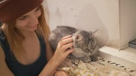 Beautiful pet cat in home video YouTube Thumbnail template