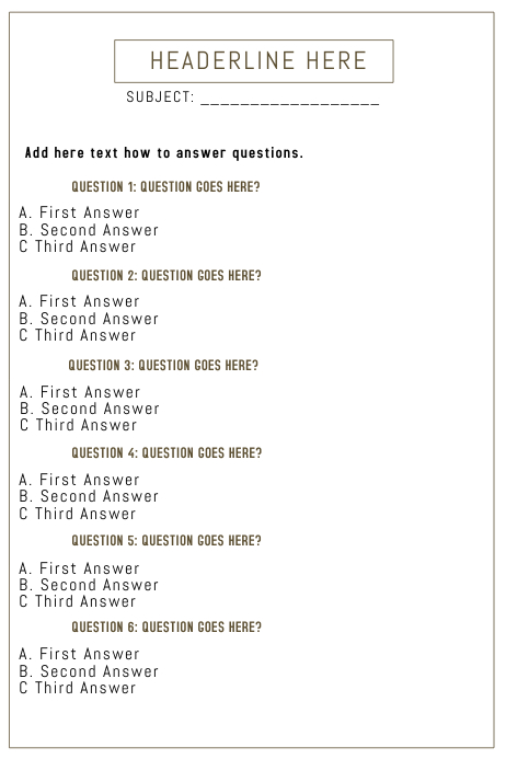 Beautiful Quiz Template A4 PosterMyWall
