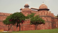 Beautiful Red fort india daytime drone view Miniatura do YouTube template