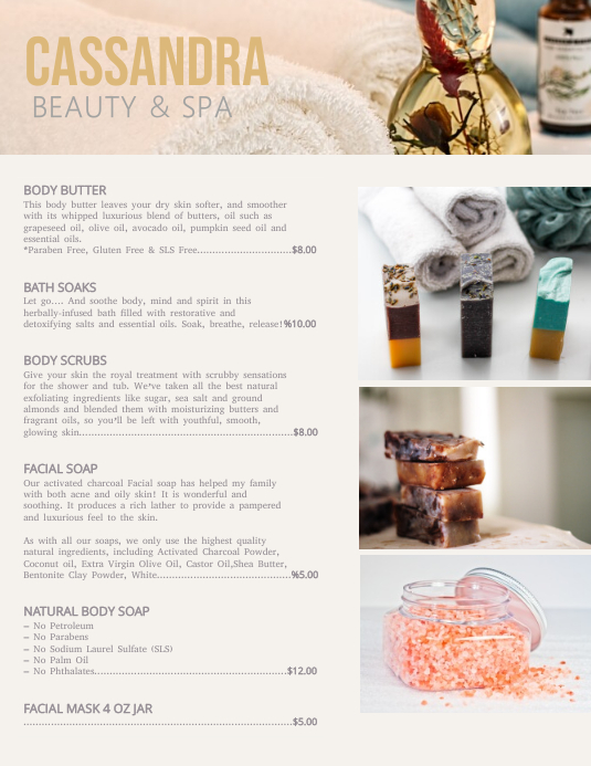 Beauty & Spa Price List Flyer Template