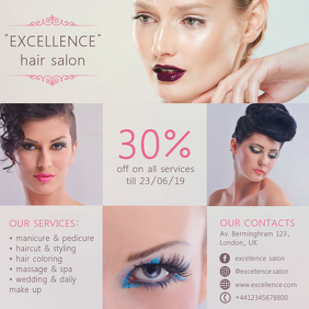 Beauty & spa salon Wpis na Instagrama template
