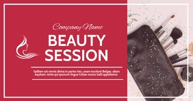 beauty and makeup gift voucher red colors Gambar Bersama Facebook template