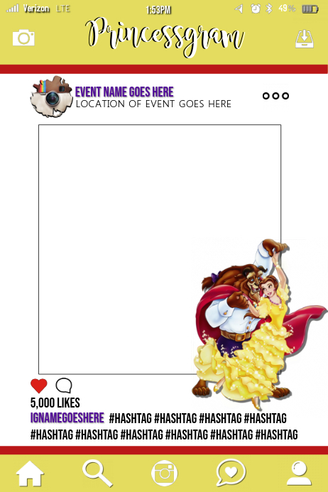 Beauty And The Beast Party Prop Frame Template Postermywall