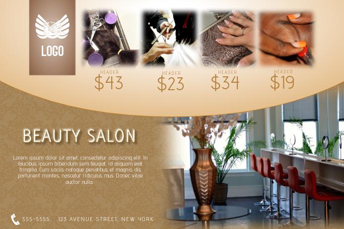 beauty hair salon price list flyer template gold luxury landscape