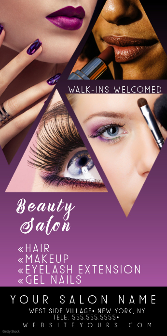 Beauty Hair Salon Purple Roll Up Banner Spanduk Gulir Atas 3' × 6' template