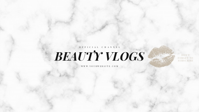 Beauty Lips White Marble Youtube Banner template