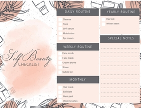Beauty Makeup Checklist Poster Flyer (US Letter) template