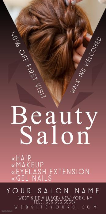 Beauty Nail Hair Salon Purple Roll Up Banner Spanduk Gulir Atas 3' × 6' template