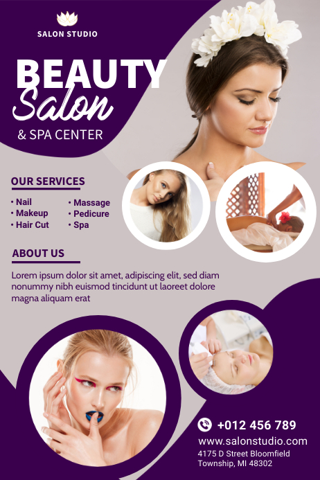 Beauty Salon & Spa Flyer Design Banner 4 x 6 fod template