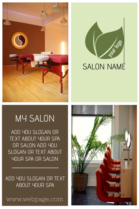 beauty salon, massage or spa poster template