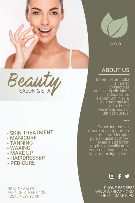 beauty salon flyer template beige gold