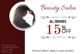 Beauty Salon Discount Landscape Poster Template  Coupon Flyer Template