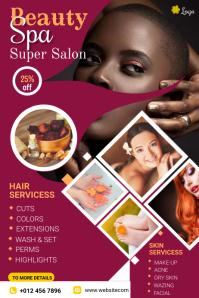 Beauty Salon Flyer Banner 4' × 6' template