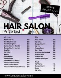 Beauty Salon Hair Studio Price List Spa Nails