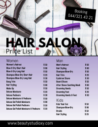 Beauty Salon Hair Studio Price List Spa Nails
