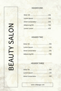 Beauty Salon Luxury Price List Template
