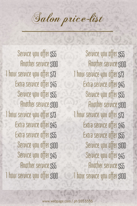 Beauty Salon Price List template
